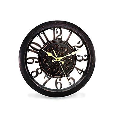 11  Royal Black Knight Emblem Simulated Wood Wall Clock, Quartz, ABS Texture, Antiquity European Style (Black)