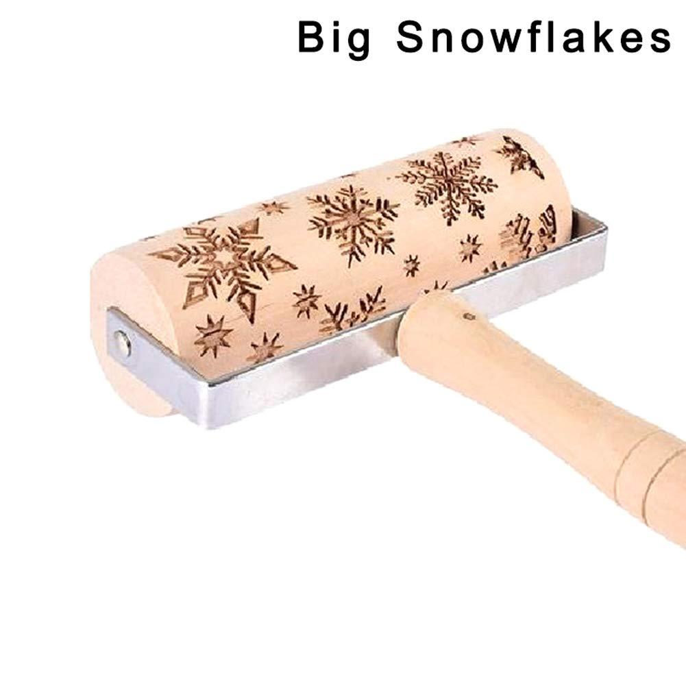 DIY Werkzeuge zum Backen von Keksen Big Snowflakes Apoorry Holz-Pr/ägeschablone f/ür Weihnachten Kinder graviert 1