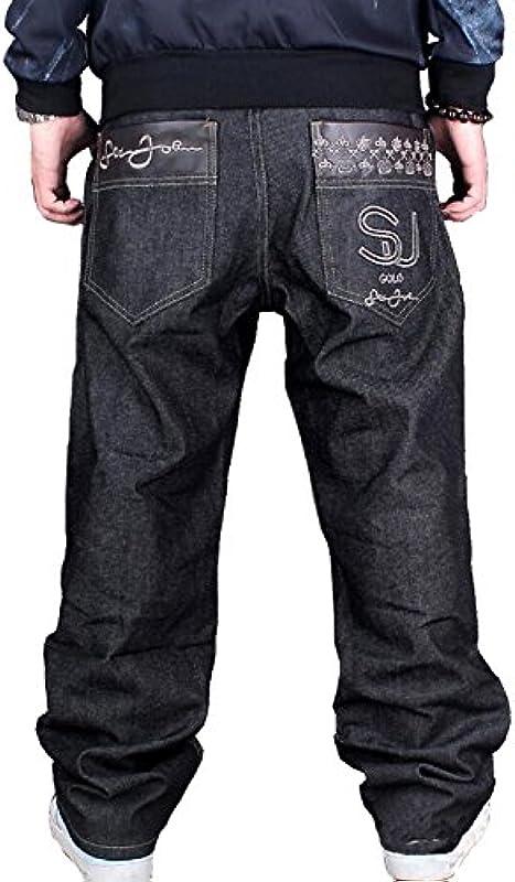JIINN Męskie Mollige dżinsy Hip Hop haft czaszka Baggy klasyczne spodnie dżinsowe z nadrukiem skateboardowe spodnie spodnie: Odzież