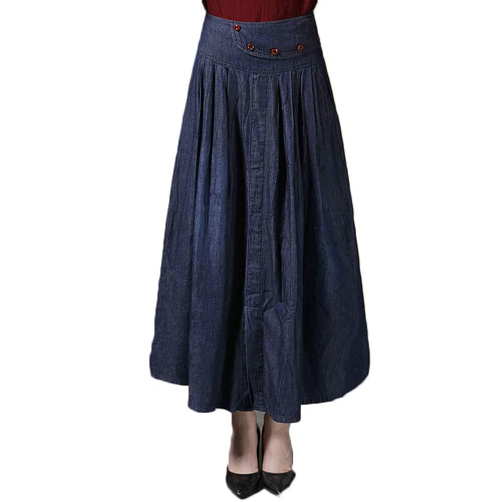 S.Charma Womens Elastic Waist A-Line Pleated Thin Denim Skirt Plus Size Midi Jean Skirt Navy Blue