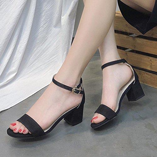 Beautyjourney Sandales Espadrilles Femme, Sandales Plastique Tongs Drole,Femmes Dames Sandales Cheville Mid Talon Partie Bloc Open Toe Shoes Noir