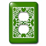 3dRose Russ Billington Designs - Hearts and Flowers Tile Design in Green and White - Light Switch Covers - 2 plug outlet cover (lsp_262264_6)