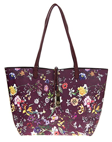 Reversible Bag Pattern (Canal Collection Reversible 2 in 1 Fashion Tote Handbag with Pouch (Flower Pattern 12))