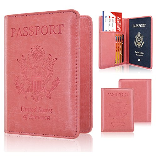 (Passport Holder Case, ACdream Protective Premium PU Leather RFID Blocking Wallet Case for Passport, Light Pink)