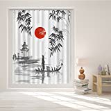 Roslynwood Japanese Art Traditional Asian Style Trees Sun and Fisherman Room Darkening Window Grommet Curtains 84 Inch Length 2 Panels