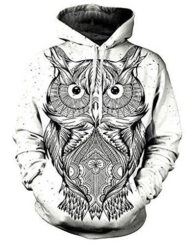 Chic 3D Sweatshirt Unisex Animal Owl Artwork Hoodie Funny Tracksuit Streetwear L