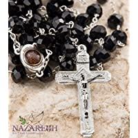 Catholic Black 10mm Crystal Beads Rosary Holy Soil Medal & Silver Crucifix