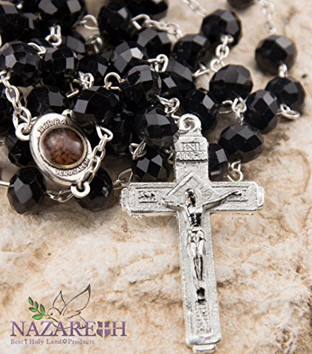 Catholic Black 10mm Crystal Beads Rosary Holy Soil Medal & Silver - Store Ax Man