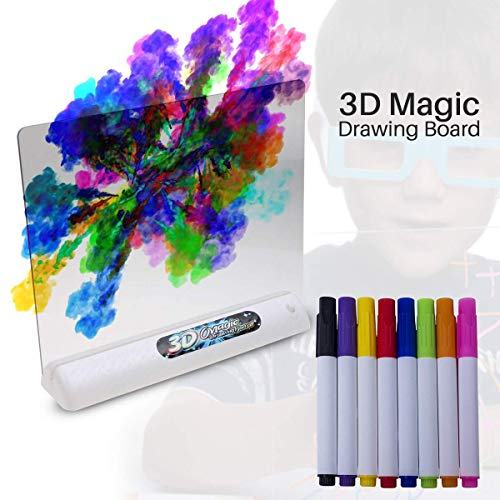TOTOMIO 3D LED Drawing Board for Kids with 3D Glasses 9 Coloring Sheets 8 Color Pens - Erasable Transparent Tracing Pad Painting & Doodling Tablet for Educational & Entertainment of Toddlers 3-12 Year