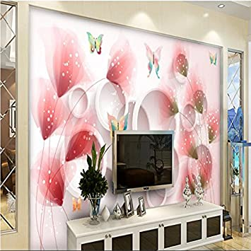 Lwcx High Fashion Air Wall Paper Fantastic Flower Butterfly 3d Stereo Tv Background Mural Papel De Parede 3d Wallpaper 300x210cm Amazon Com