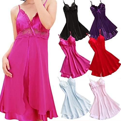 FUNOC® Sexy Womens Lingerie Babydoll Faux Silk Lace Sleepwear Pajamas Nightgown Dress