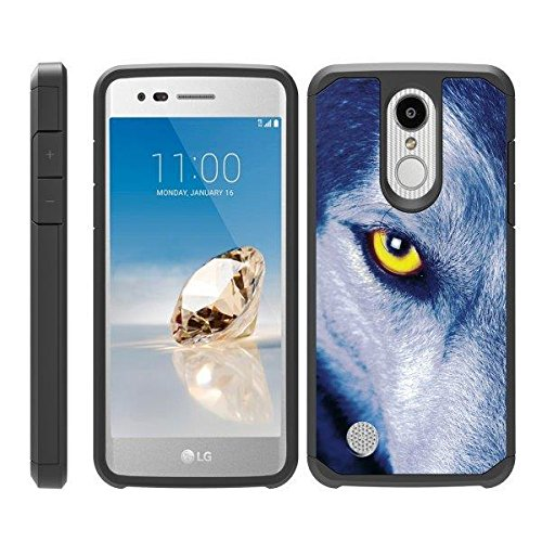TurtleArmor | Compatible for LG Aristo 3 Case | Zone 4 | Tribute Empire | Risio 3 | Fitted Hybrid Shell Shockproof TPU Case Animal Design - Wolf Eye