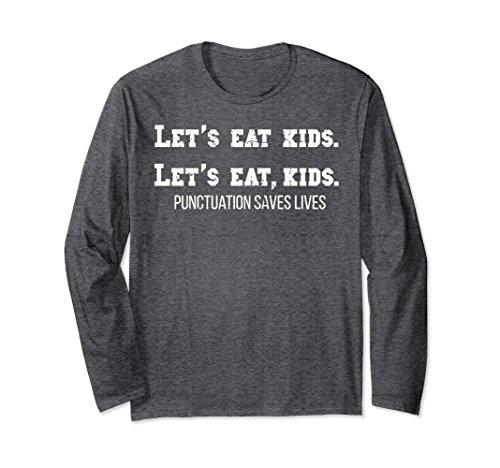Unisex Grammar Lovers Long Sleeve T-Shirt: Funny Teacher Pun | Gift Large Dark - Nerd Outfits Halloween