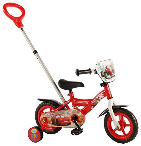 Vélo Enfant 10 Pouces Disney Cars avec Stabilisateurs et Barre de Poussée Orientable Rouge