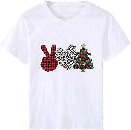 Camisa Estampada de Talla Grande para niñas y niñas Camiseta de Manga Corta de Navidad Blusa Tops: Amazon.es: Ropa y accesorios