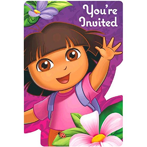 Amscan Colorful Dora's Flower Adventure Birthday Party Invitation Cards Supply (8 Pack), 4 1/4