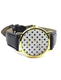 Geneve ladies Polka Dot Black Watch-Platinum