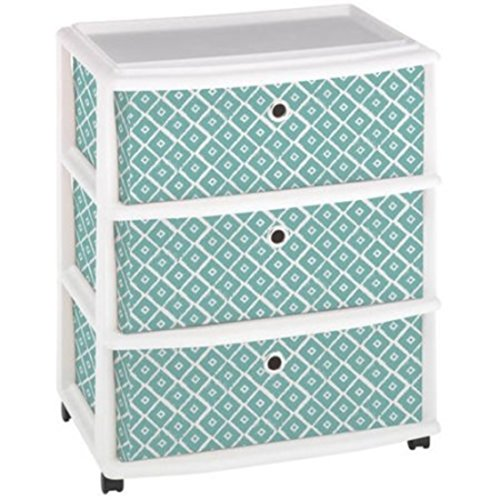 Mint Blue Modern look Ikat Pattern Sturdy Plastic 3 Fabric Drawers by Plastic Fabric USA