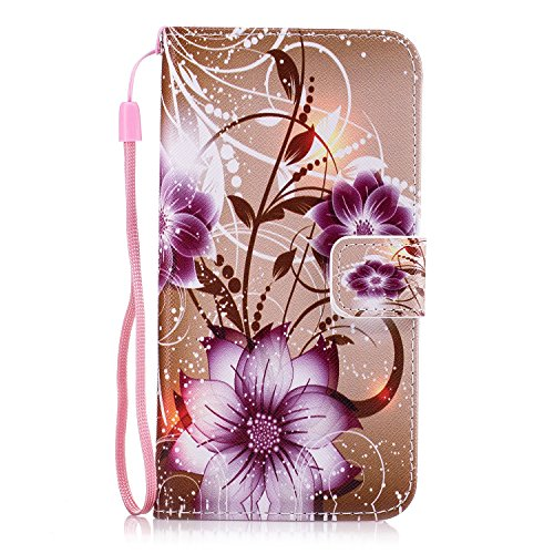 Galaxy Grand Prime Case, GNT PU Leather Stand Wallet ID Holders Flip Folio TPU Soft Bumper Case Cover for Samsung Galaxy Grand Prime G5308/G530H(Purple Flower)