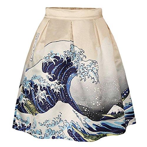 asairy muchacha mujer Señora Una línea retro Impresión del plisado de la falda del patinador del estilo de la vendimia floral Galaxy Print faldas hasta la rodilla elegantes Mezclar Color-016