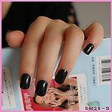 DIY Nail Salon Goods Shine Surface Classic Black 24 Pcs Sweet Carnival Candy Short False Fake Nails Full Tips Finger Nails B