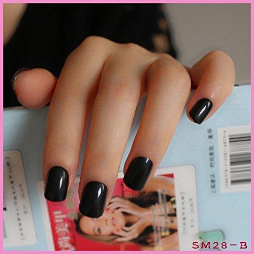 Black Fake Nails (DIY Nail Salon Goods Shine Surface Classic Black 24 Pcs Sweet Carnival Candy Short False Fake Nails Full Tips Finger Nails B)