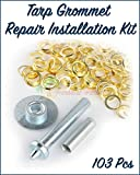 Paradise Harbor 103 Pcs Tarp Grommet Repair Installation Kit Tent Awning Canopy Brass Ring Flag