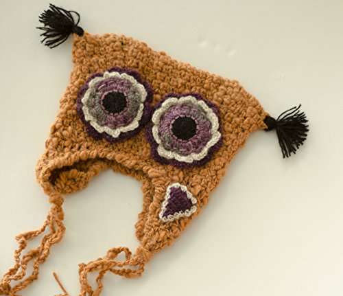 (Custom Crochet Earflap Beanie Baby Kids Toque Dizzy Owl Ginger Hat)