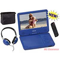 9 inch Portable DVD/CD Player with Swivel Screen and Fold, Rechargeable Battery, Remote Control, Travel Bag with Matching Color Headphones and AC/DC Adapter Encore DVD901BMO - Blue