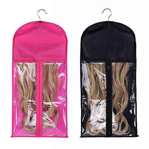 2 Pack Portable Wig Hair Extension Storage Bag with Hanger Hairpieces Storage Holder Wigs Carrier Case for Store Style…