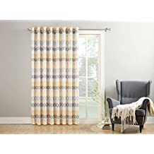 No. 918 50299 Vesper Extra Wide Casual Textured Grommet Patio Door Curtain Panel, Yellow, 100 X 84