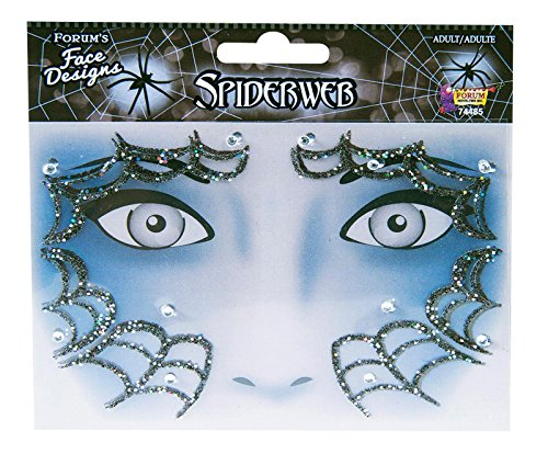 Forum Novelties Face Designs Stick on Accessory with Glitter and Crystals (Spiderweb) ()