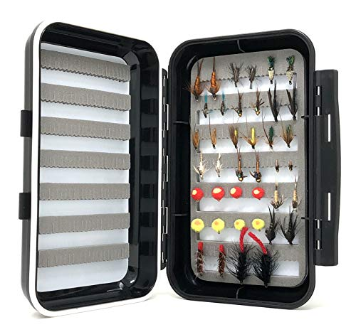 - Feeder Creek Fly Fishing Assortment - Wet and Streamer Flies - 20 Patterns and 40 Total Flies with Large Waterproof Fly Box - Bead Head, Wooly Worms, Eggs, Caddis, Stonefly, Nymphs, and More