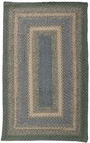 Homespice Decor Braided Rectangle Area Rug 2'x3' Blue-Beige Baja Blue Collection Baja Braided Rug