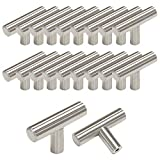 Probrico Brushed Nickel Stainless Steel Kitchen Cabinet T Bar Handle Furniture Drawer Pulls Cuoboard Knobs PS201HSS(32mm Projection/50mm long) 20 Pack