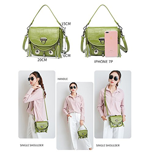 Shoulder White Girls Yoome Women Punk Crocodile Mini Pattern Bags with Handbags Bags Cowhide for Tassel Style for qAnEBafw