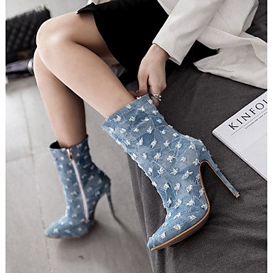 Blue Boots amp; Gll Blue Heel Party Boots amp;xuezi Western Fall 4in Women's Fashion Denim light Cowboy 3 Boots 4in Evening Winter Stiletto Navy Light blue 4 x7r0wWn7Tq