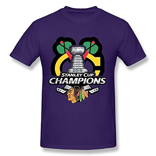 FENGTING Men's Chicago Blackhawks 2015 Stanley Cup Champions T-shirt Size L Purple