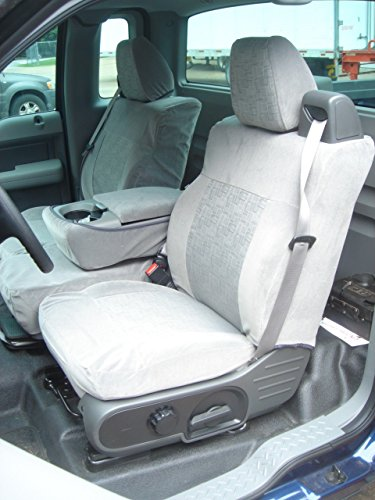 Durafit Seat Covers Made to fit 2004-2008 Ford F150 Xcab Front 40/20/40.Seat Belts Come from top of seat, NOT for Double CAB Gray Automotive ()