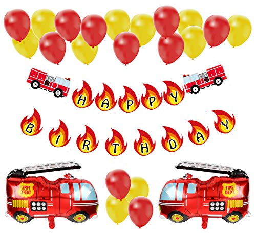 Party Truck Fire Birthday - Fire Truck Birthday Party Decoration Pack | Fireman Firefighter Bday Party Banner Balloon Decor Set