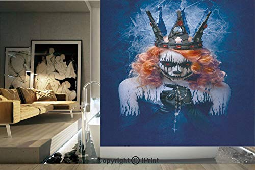 Decorative Privacy Window Film/Queen of Death Scary Body Art Halloween Evil Face Bizarre Make Up Zombie/No-Glue Self Static Cling for Home Bedroom Bathroom Kitchen Office Decor Navy Blue Orange Black -