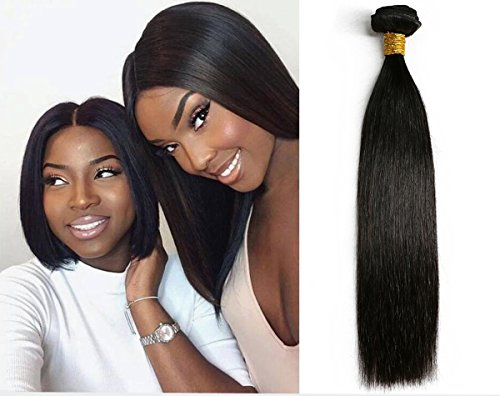 SIADEE 12 Inch 8A Grade Brazilian Real Virgin Human Straight Hair 1 Bundles 100g, Pack of 1, 100g/bundle, Natural Color Hair Bundles.(12 Inches Single Bundle) ()