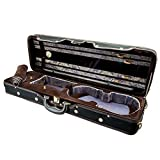 Paititi 4/4 Full Size Professional Oblong Shape Lighweight Violin Hard Case with Hygrometer Black/Brown