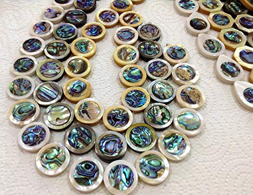 [ABCgems] Rare Tahitian White Lip Oyster (New Zealand Abalone Front & Back Inlaid) 24mm Smooth Coin Shape Beads (2 Pieces Wholesale - Oyster Spiny Inlaid
