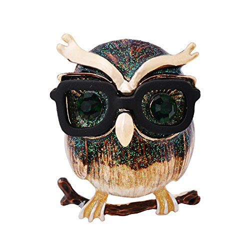 Owl Bird Brooch - OBONNIE Retro Women's Austrian Crystal Enamel Lovely Owl Bird Animal Branch Brooch Pin Lapel Pin (Gold)