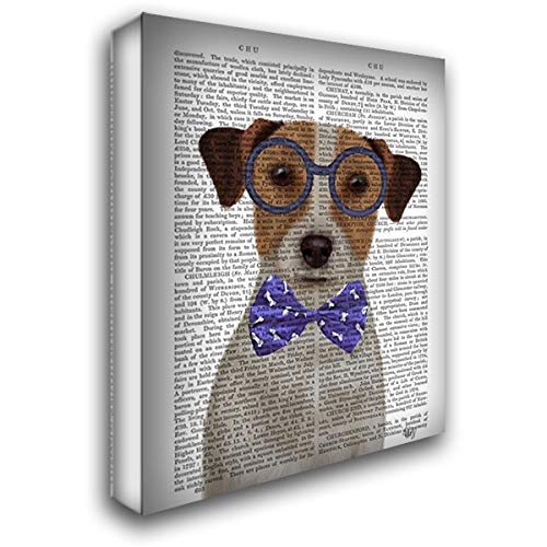 (Jack Russell with Glasses and Bow Tie 44x56 Extra Large Gallery Wrapped Stretched Canvas Art by Fab Funky)