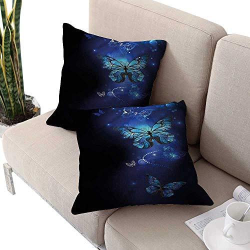 cobeDecor Dark Blue Pillowcase Pillow Shams Monarch Butterflies Motif Pillows Shells, for Sofa Bedroom Car Chair 24