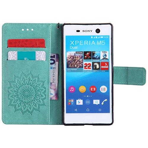 Funda Sony Xperia Z5 Mini, Sony Xperia Z5 Mini de Cuero Funda Carcasa, PLECUPE La Moda Flor en Relieve Patrón Cierre Magnético Flip de Cuero Billetera Caso Case y Correa para la Muñeca, Ultra Fina Est Verde