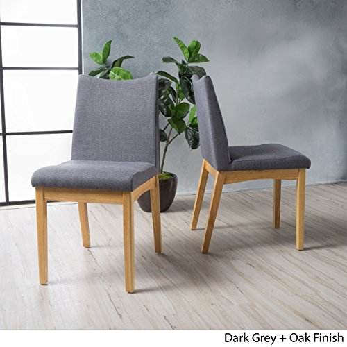 Finish Fabric (Gertrude Dark Grey Fabric with Oak Finish Mid Century Modern Dining Chairs (Set of 2))