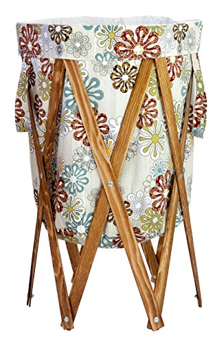 MAX + RAE Collapsible Laundry Hamper with Stained Wood Frame | Dirty Clothes Storage | Removable Fabric Bag with Handles, Easy to Carry and Clean | Nursery, Kids Bedroom, Bathroom (Flower Art 2) by MAX + RAE